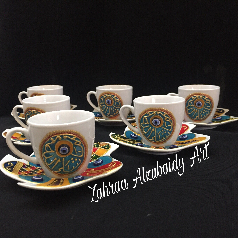 رسم على فناجين القهوة برسمات بغدادية باستعمال الوان ومحددات الزجاج Glassware Art Tableware