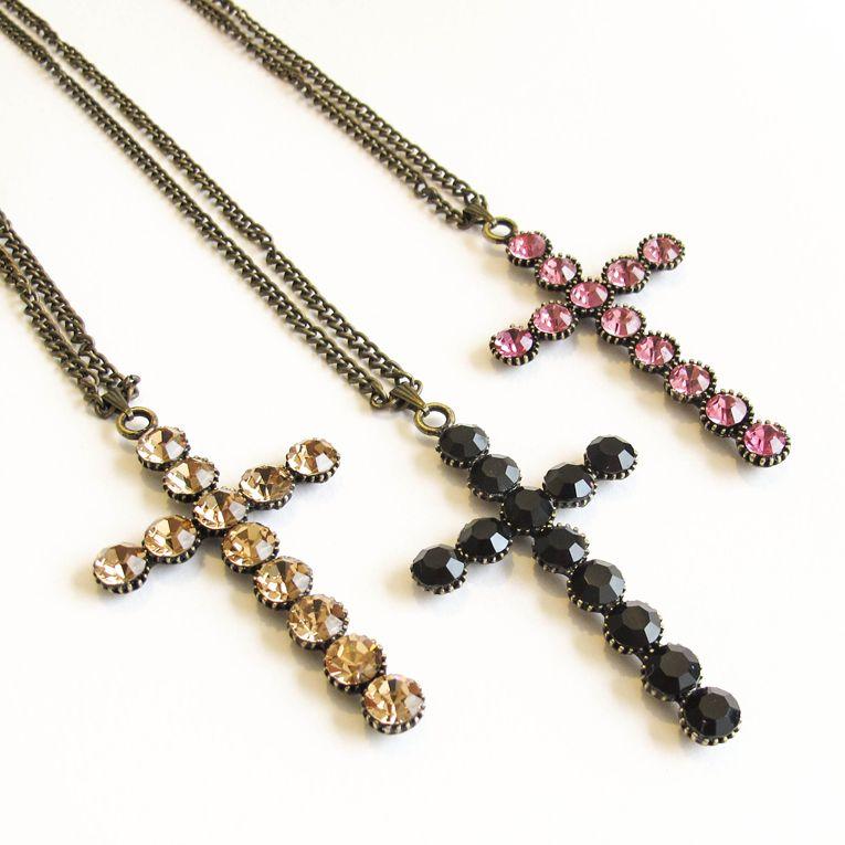 Colar Crucifixo Strass Bronze, #necklace #cross #crucifixo  www.lacosdefilo.com
