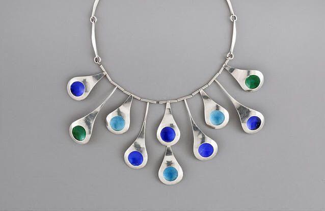 Necklace |  Arline Fisch.  Peacock Tail necklace.  1952.  Silver, enamel.