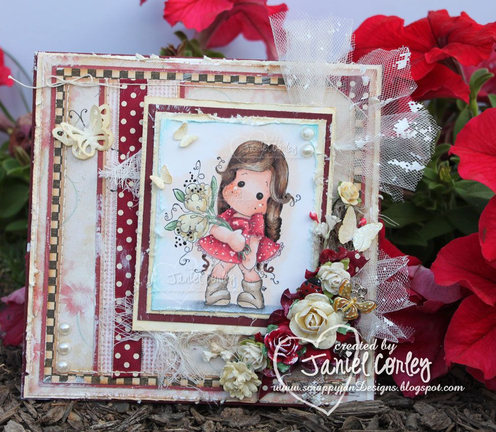 New card using Tilda With Fantasy Flowers. Created by Janiel. More photos and info on my blog. http://scrappyjandesigns.blogspot.com/2014/02/tilda-with-fantasy-flowers-for-mduc.html