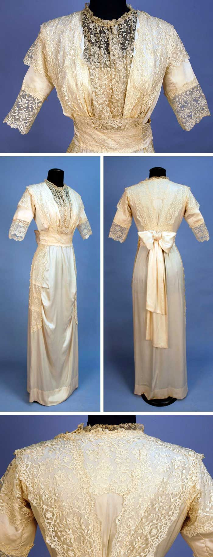 Gown, A & M O'Connor, Philadelphia, date unknown. Ivory charmeuse with elbow-length sleeves and pleated cummerbund with back bow. Skirt with front horizontal tucks. Embroidered lace on net decorates bodice, sleeves, and sides of skirt. Charles A. Whitaker Auctions