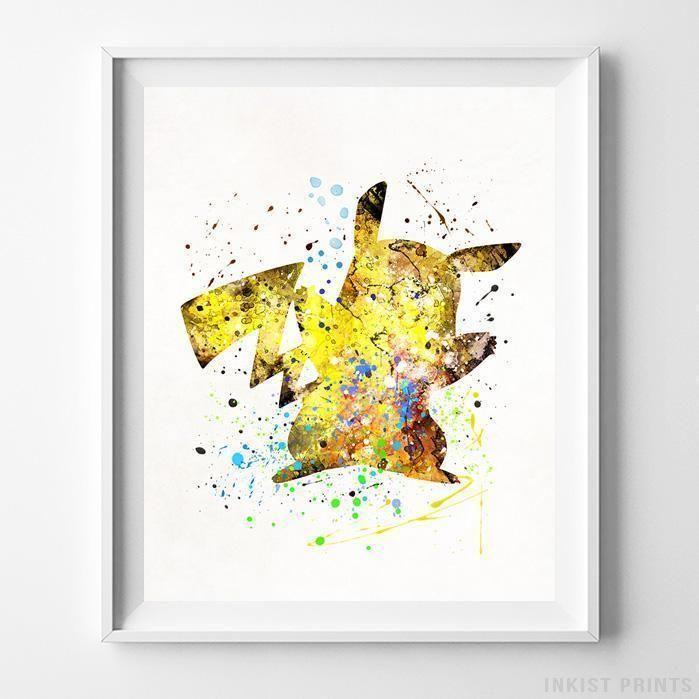 Pikachu, Pokemon Type 2 Print | Watercolor walls, Pokémon and Kidsroom
