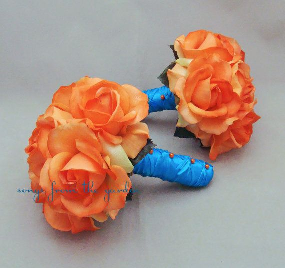 Orange Rose Wedding Flower Package Bridesmaid Bouquets Real Touch Roses