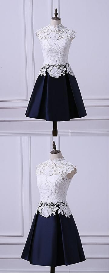 White Lace Cap Sleeve Short Navy Blue Satin Homecoming Dress M8800