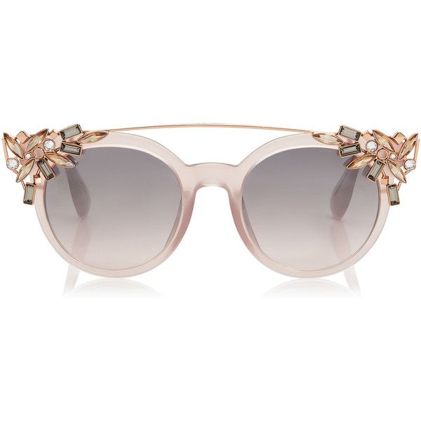 Pink Round Framed Sunglasses with Detachable Jewel Clip On VIVY found on Polyvore featuring accessories, eyewear, sunglasses, glasses, rounded sunglasses, acetate sunglasses, pink glasses, round glasses and pink round glasses