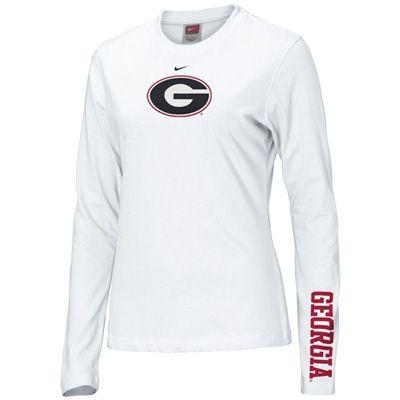bb20eef948082 UGA Georgia Bulldogs Ladies Nike Long Sleeve Oval G T-Shirt - White ...