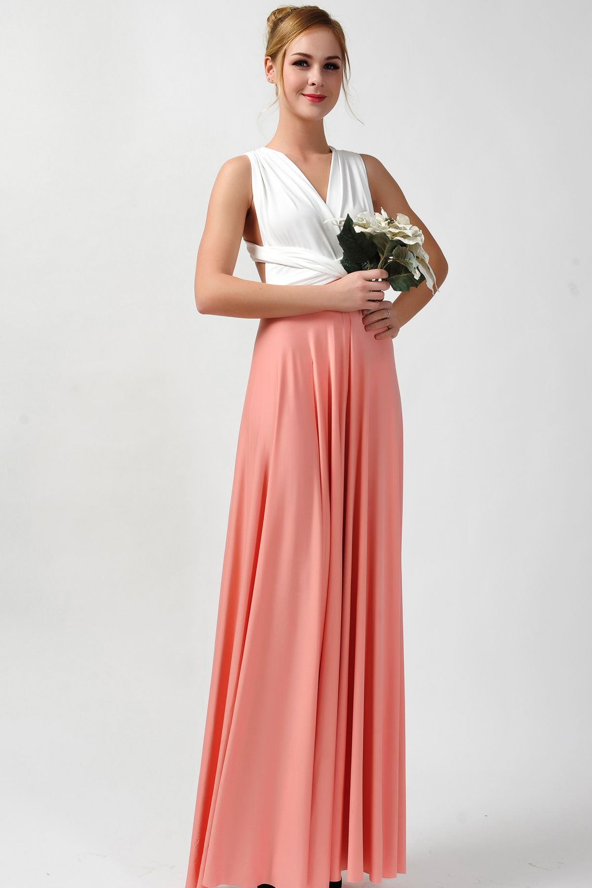 2016 new arrival maxi infinity bridesmaid dress two tone [tt-15 ...