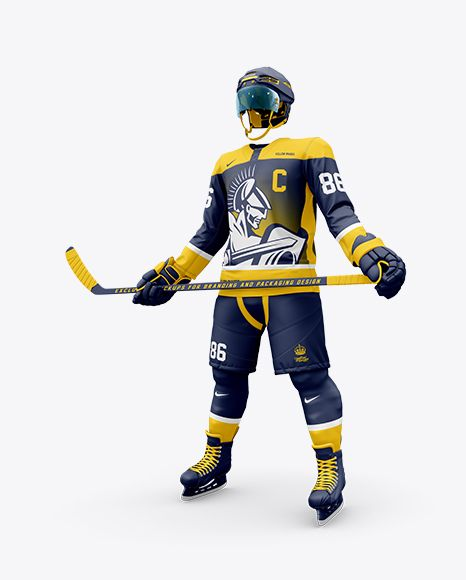 Men S Full Ice Hockey Kit With Stick Mockup Half Side View In Apparel Mockups On Yellow Images Object Mockups Design Mockup Free Ice Hockey Clothing Mockup