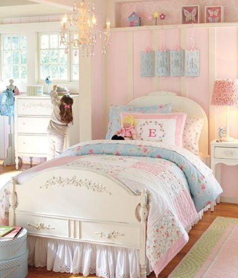 Pink Girls Room: 40 Beautiful And Cute Shabby Chic Kids Room Designs