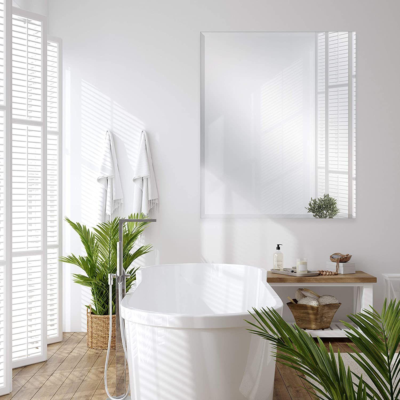 Beautiful Natural Bathroom Frameless Bathroom Mirror Gorgeous Mirror For Spa Inspired Bathroom Modern Coastal Wall Art Beach House Wall Art Coastal Wall Art [ 1500 x 1500 Pixel ]