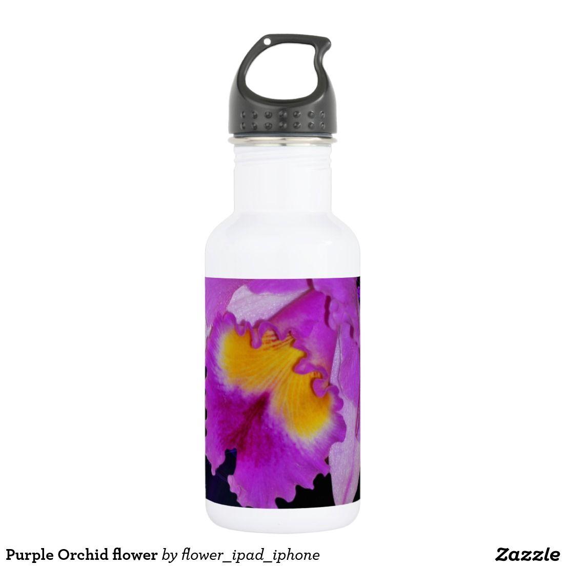 Purple Orchid Flower Water Bottle Zazzle Com Purple Orchids Orchid Flower Pink Rose