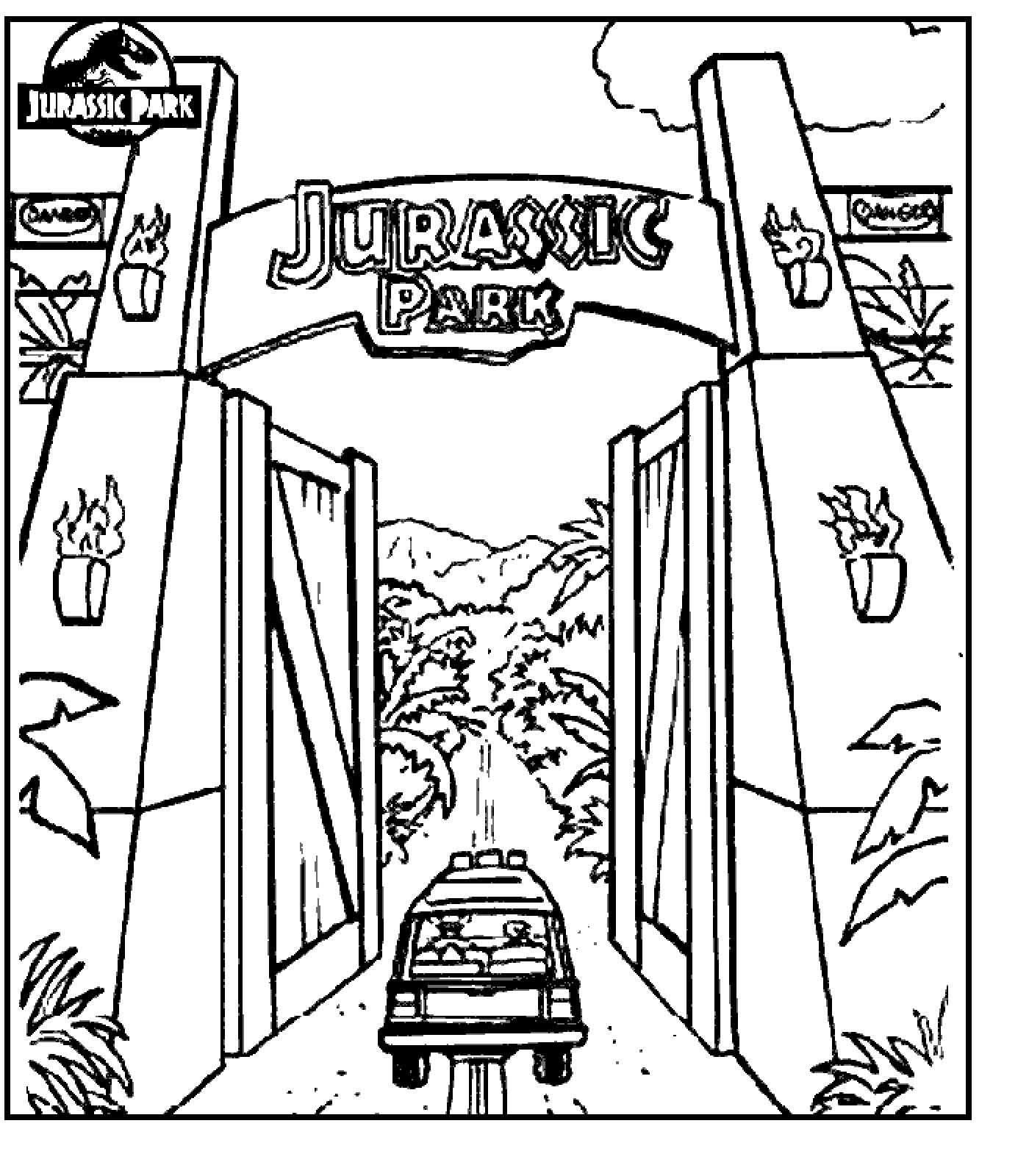 jurassic park coloring sheets coloring pages jurassic park gate jurassic park party. Black Bedroom Furniture Sets. Home Design Ideas
