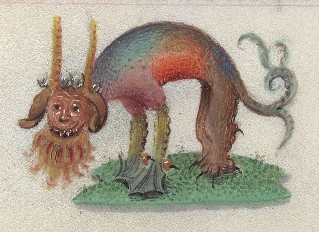 rainbow colored beasts form 15th c book of hours