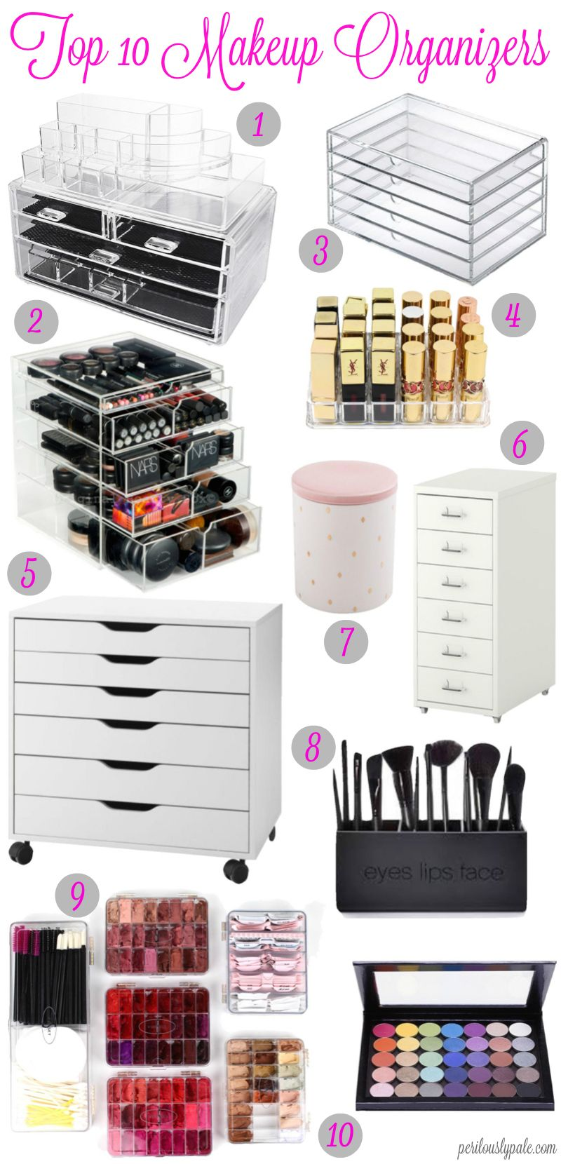 top 10 ways to organize your makeup makeup inredning. Black Bedroom Furniture Sets. Home Design Ideas