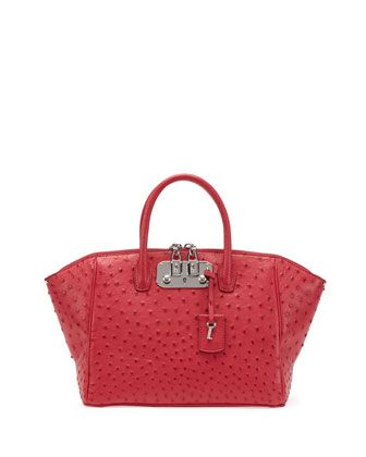 Brera Ostrich Small Satchel Bag, Pink by VBH at Neiman Marcus.