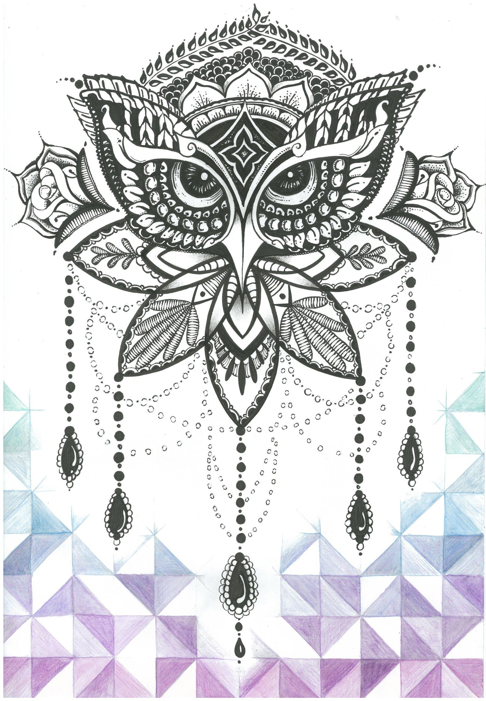 Ornate Owl - Hand inked and coloured by Jolene-eSousa.deviantart.com on @DeviantArt
