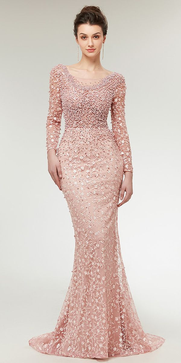 Stunning Lace Scoop Neckline Long Sleeves Mermaid Evening Dress With ...
