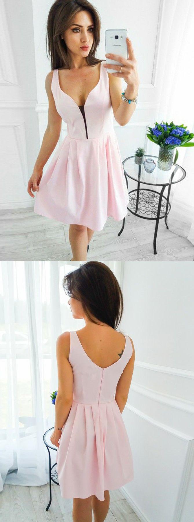 Pink short homecoming dressessimple chiffon prom dresscheap prty