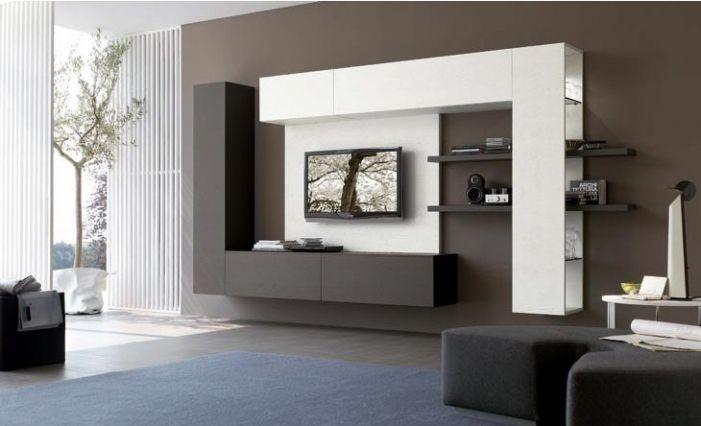 Parete dinamica e bicolor per un soggiorno ampio e moderno. | My ...