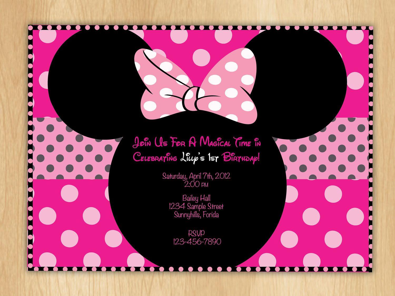 Minnie Mouse Birthday Invitations Polka Dot Bow Digital Print File ...