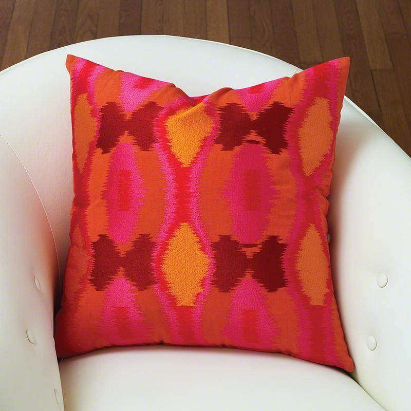 Global Views Juggler Ikat Pillow In Cardinal - Global-views-9.92019 | Candelabra, Inc.