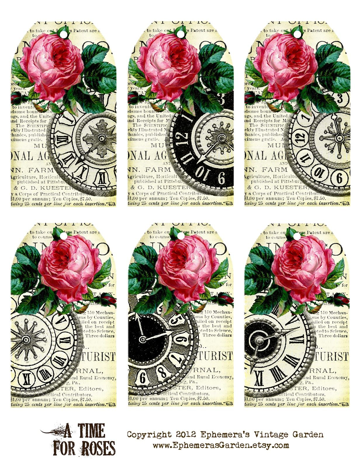 Ephemera S Vintage Garden Free Printable Of The Week Rose Clock Hang Tags Personal Use Only