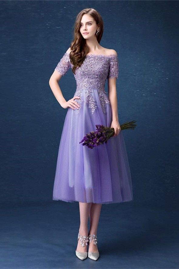 4c58c9a84886 Cute Off The Shoulder Tea Length Lavender Tulle Lace Beaded Prom Dress With  Short Sleeves
