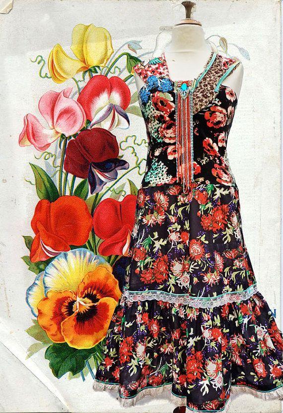 Prachtige Ibiza Hippie Boho bloemen jurk van lodicha op Etsy