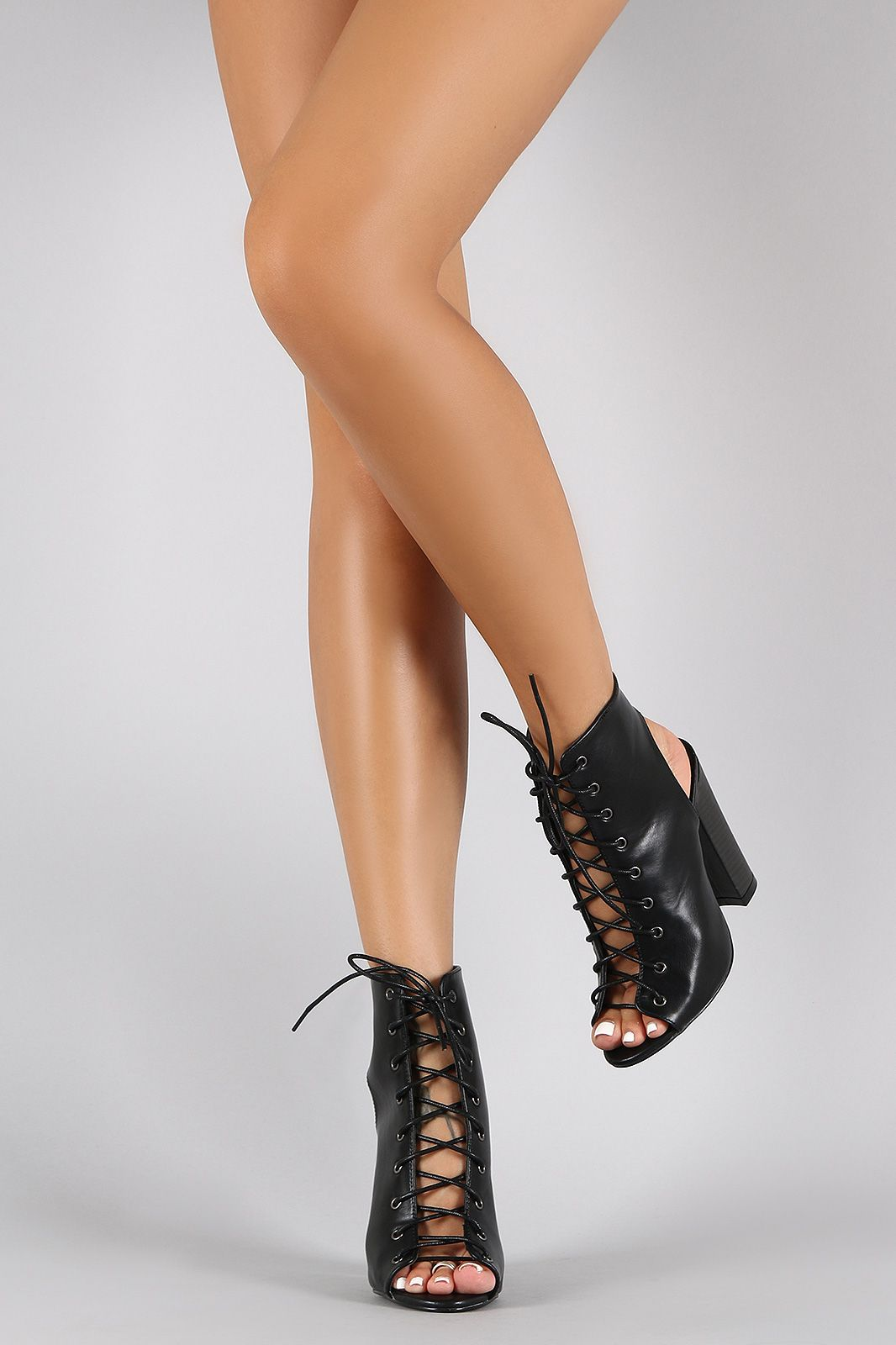 Suede Strappy Corset Lace Up Stiletto Heel  cWmuseoT