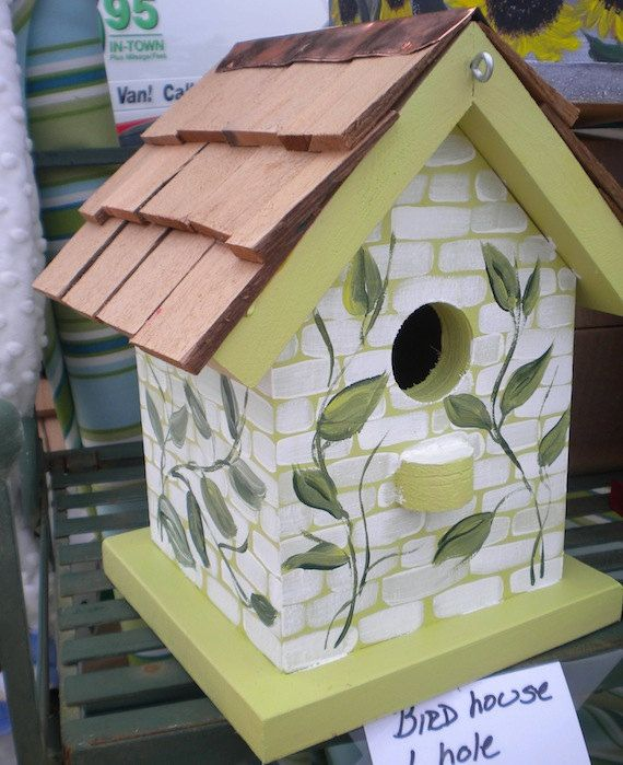 Painted Bird Houses | Vines Hand Painted Bird House by catherineklassen on  Etsy