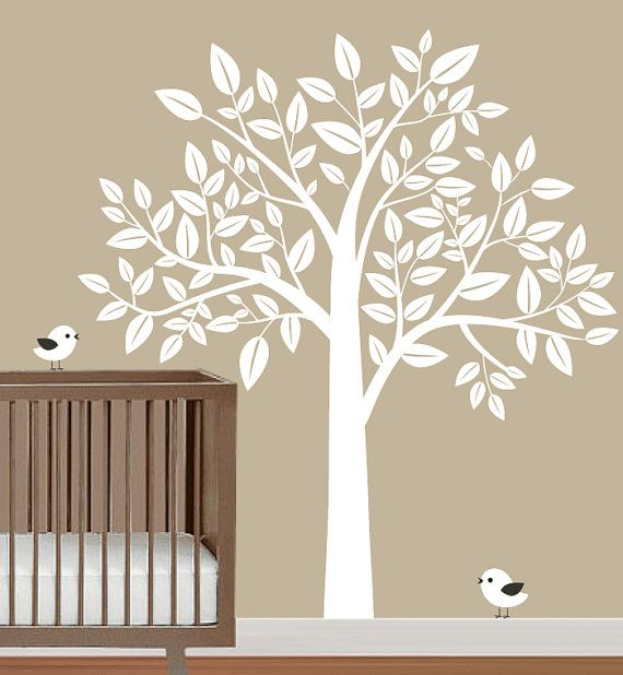 Vinyl Wall Decal Nursery White Tree With Birds Trees Leaf Bird Home House Art Decals Sticker Stickers Baby Room Kid