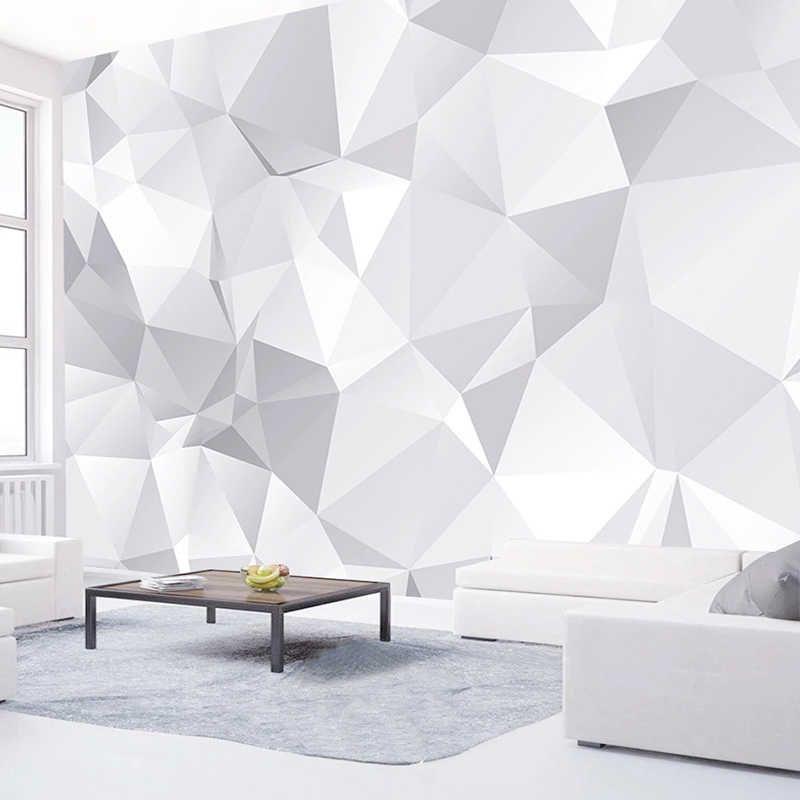 Papel Tapiz Personalizado 3d Para Pared Papel Tapiz Blanco Gris Geometrico Moderno Para Sala De Estar Tv Papeles Tapiz Decoracion Del Hogar Papel De Pared 3d En 2020 Decoracion De Recamaras