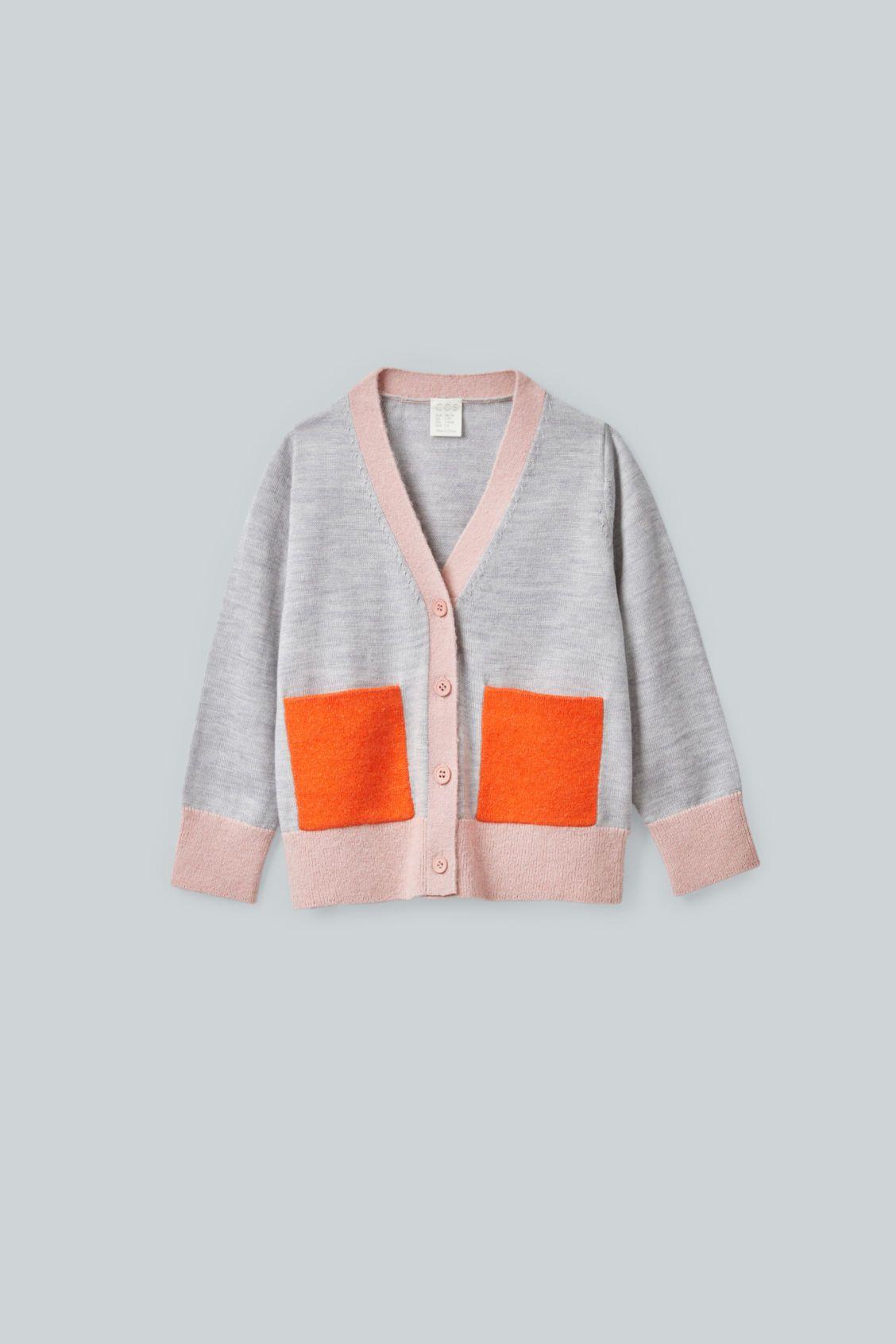 Cos Kids' Colour block Merino Cardigan In Grey | ModeSens