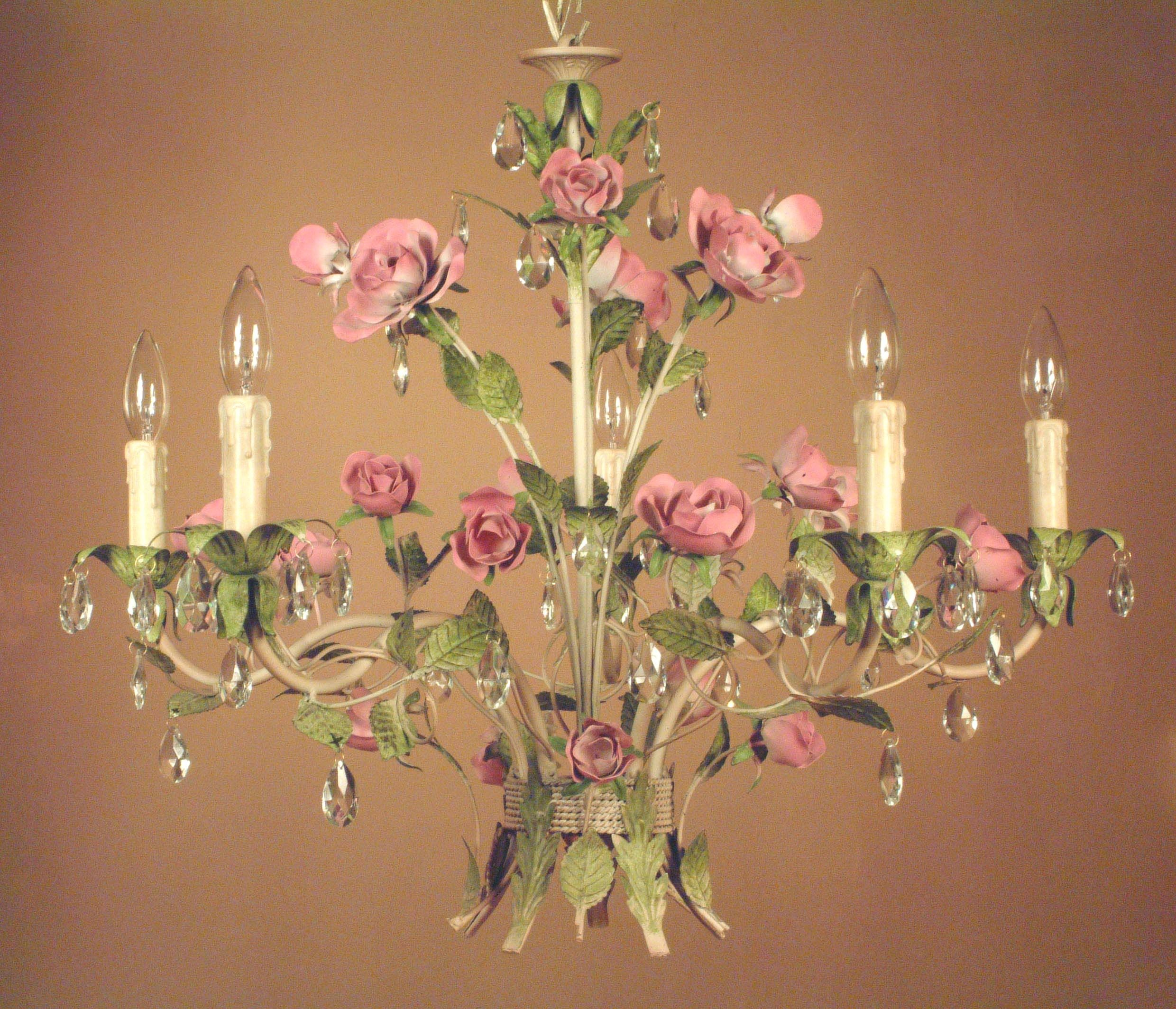 Amazing Pink And Green Floral Shabby Chic Chandelier