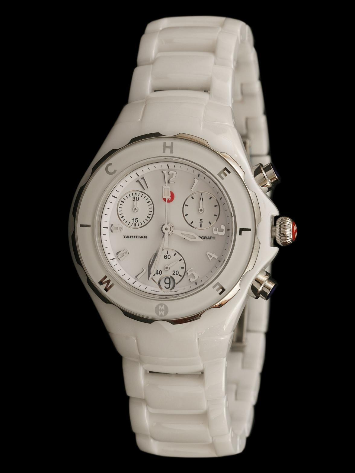 Michele Tahitian White Ceramic Watch