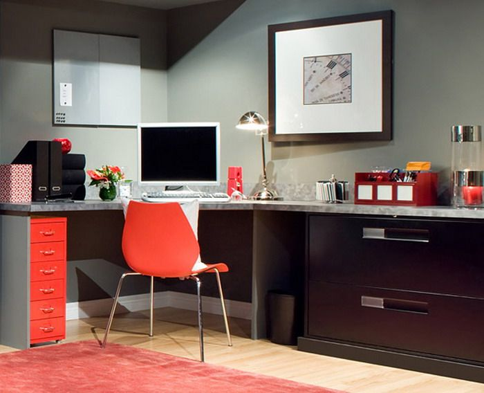 Corner Modern Computer Desk in Orange Bedroom Scheme | home project ...