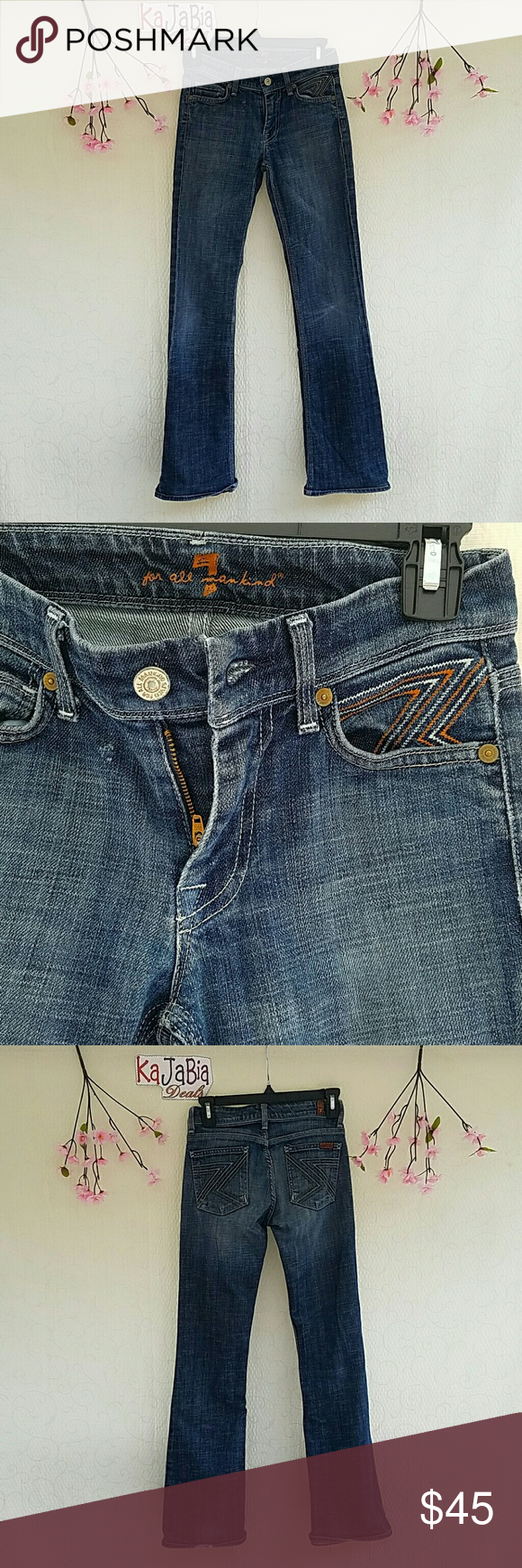 """7 for all mankind Jean Gently worn. Flint Style.Waist 13"""" inseam 29 1/2. Small rip on ankle on one leg only. Hardly noticeable. 7 For All Mankind Jeans Boot Cut"""