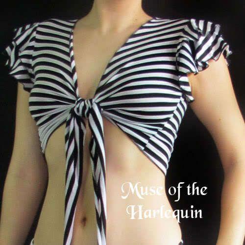 Black White Stripes Ruffle Sleeves Tribal Fusion Belly Dance Choli Crop Top S/M