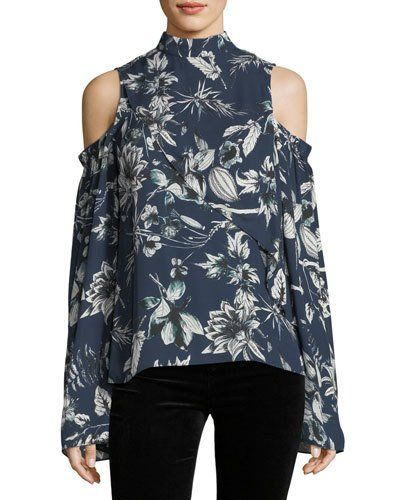 de47a2bb78c041 Parker Lulu Mock-Neck Cold-Shoulder Floral-Print Silk Blouse Blue Blouse