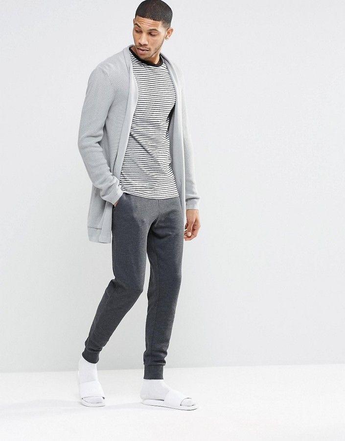 Asos Brand Asos Loungewear Skinny Joggers In Charcoal Mens