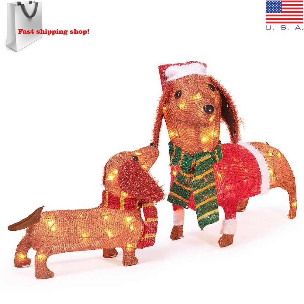 Christmas Dachshund Sausage Dog Set Of 2 Light Up Wiener Dogs Outdoor Decoration Branded Dachshund Christmas Outdoor Dog Dog Sculpture