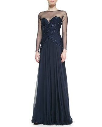 54e98d9998d Long-Sleeve Mesh   Beaded-Lace-Bodice Gown by Tadashi Shoji at Neiman  Marcus.
