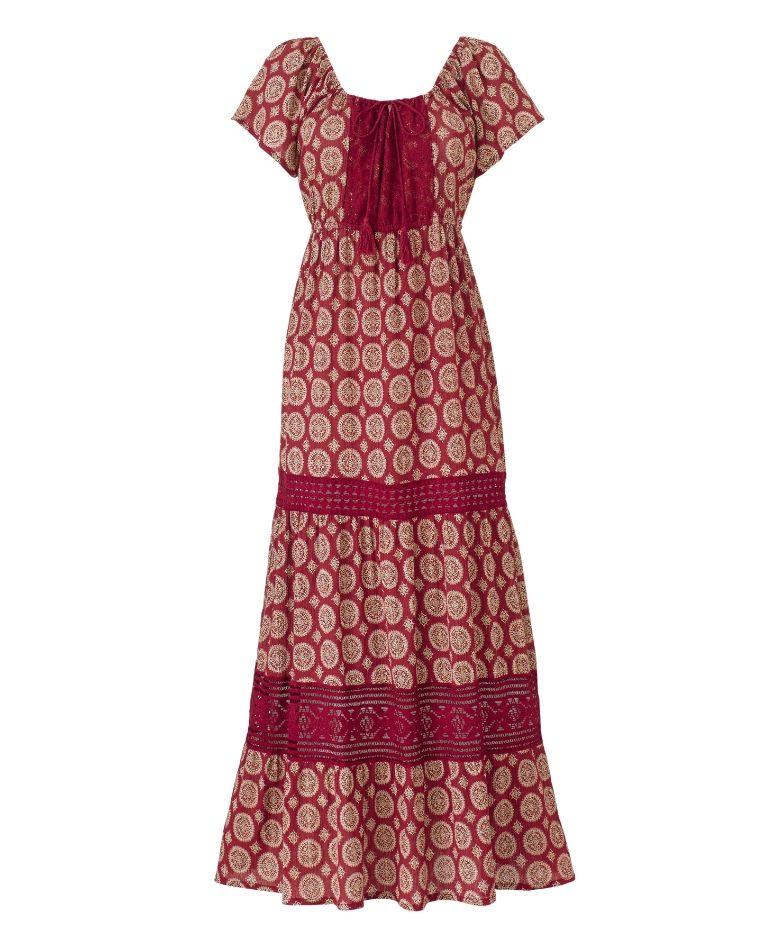 Print Tiered Lace Trim Maxi Dress | Fashion | Dresses ...