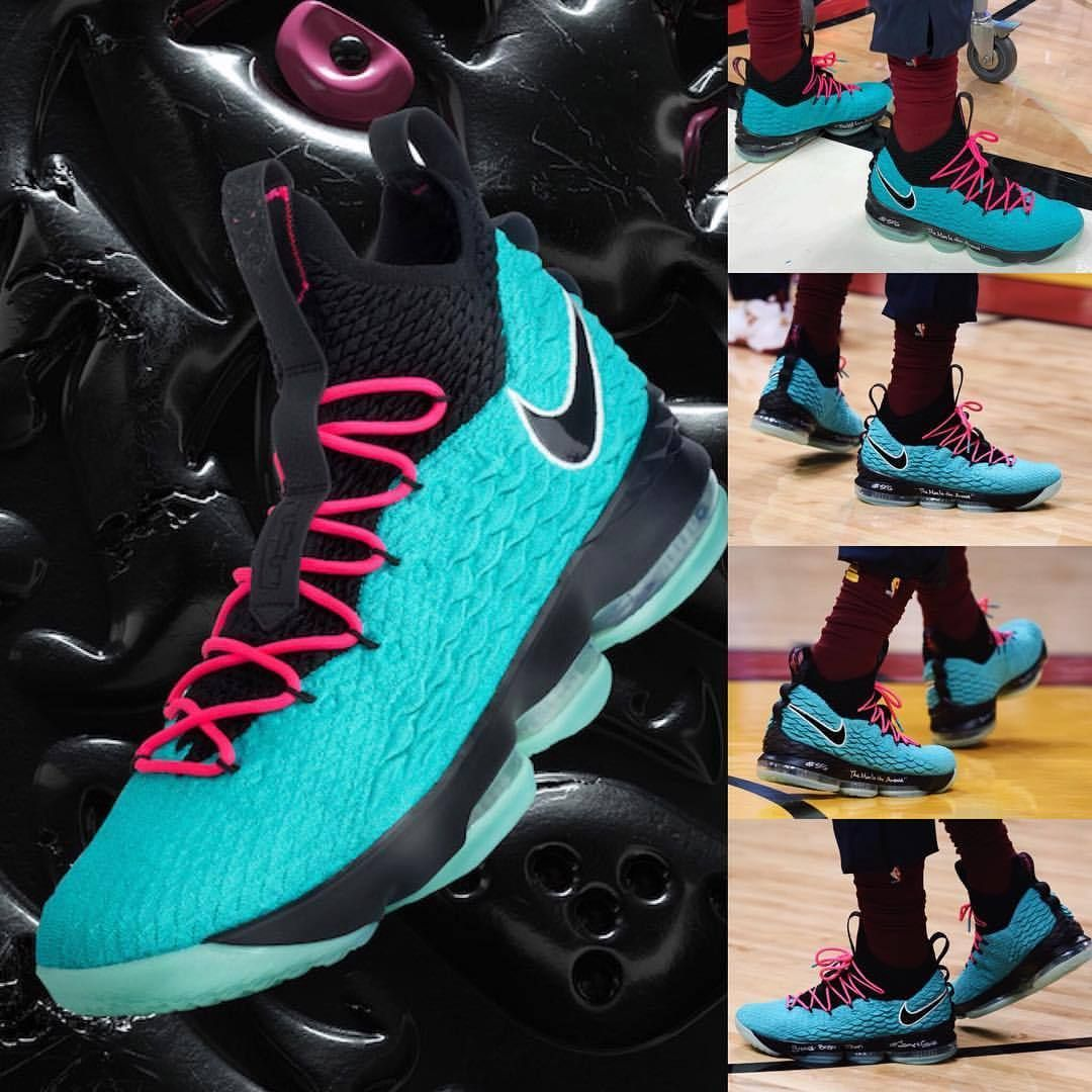 brand new 149a2 5b00c LeBron wore the Nike LeBron 15 South Beach tonight in Miami. Check out  more images and info on SneakerFiles.com