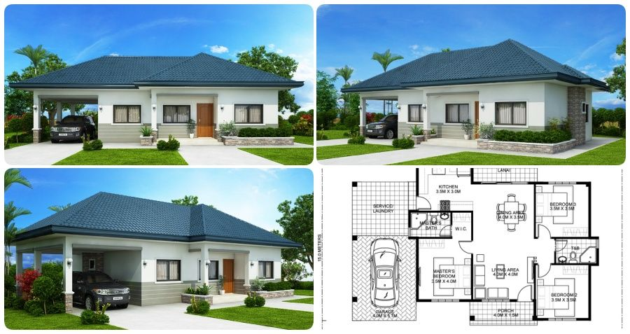 Three Bedroom House Plan 285 S Q M Myhomemyzone Com Three Bedroom House Plan Affordable House Plans Bungalow House Design