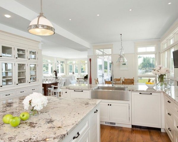 15 Best Pictures Of White Kitchens With Granite Countertops Antique White Kitchen Antique White Kitchen Cabinets White Granite Kitchen