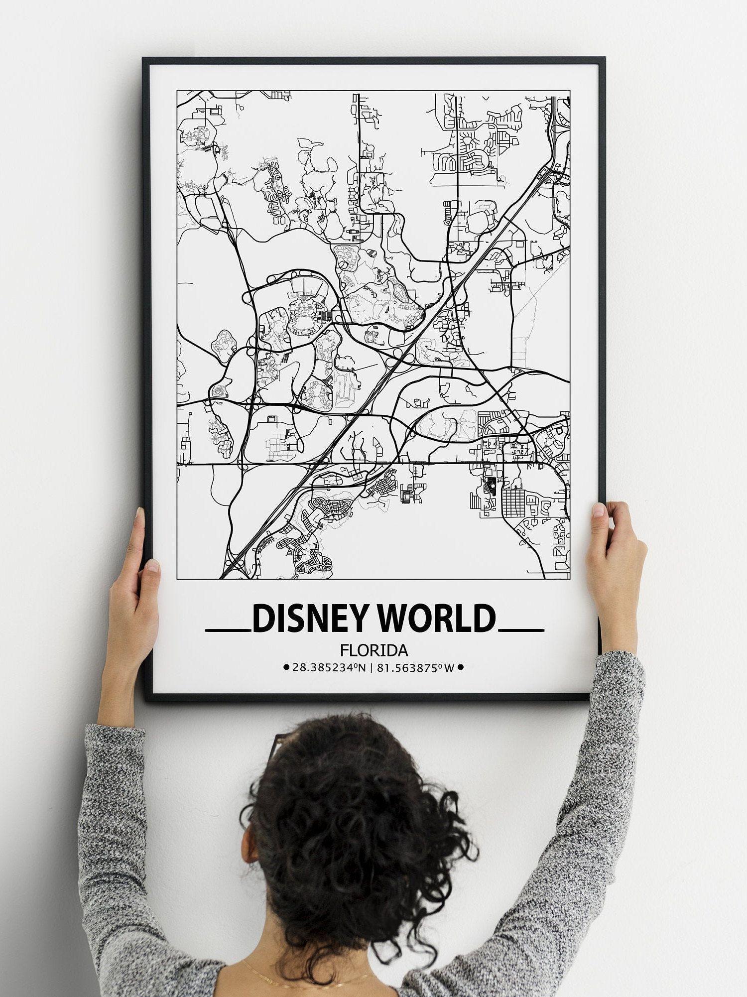 Disney World Map Print Disney World Wall Art Prints Travel Etsy Map Wall Art City Map Poster Disney World Map
