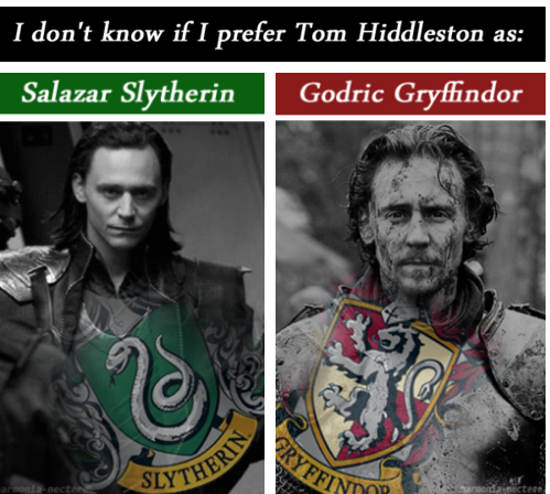 Hiddles As Slytherin Or Gryffindor Slytherin Of Course I M Not Gonna Betray My Own House Here Lol Tom Hiddleston Loki Slytherin Tom Hiddleston