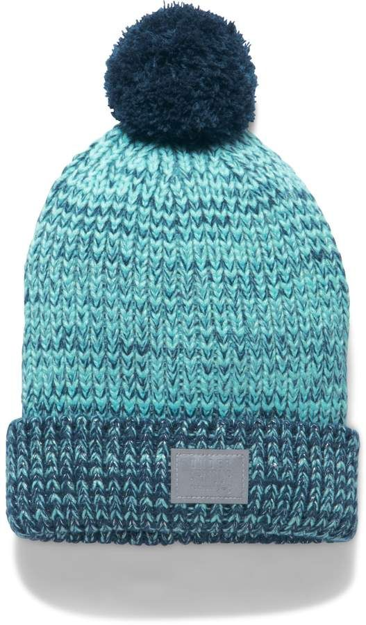 Under Armour Girls Youth Shimmer Knit Pom Beanie and Mittens