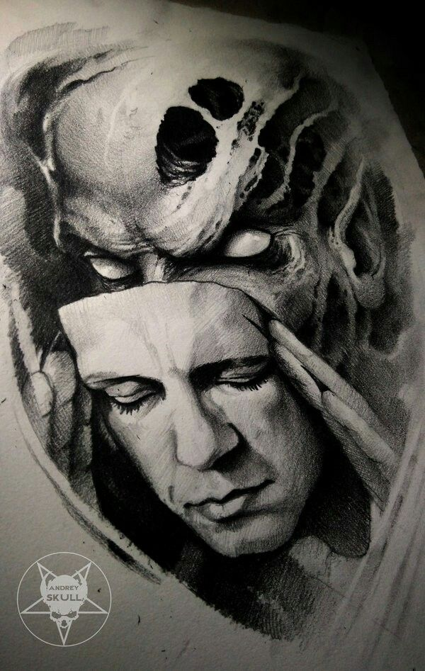 Two Faces Illustration Pinterest Tattoos Mask Tattoo And